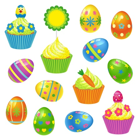 Set of colourful Easter eggs and cupcakes
