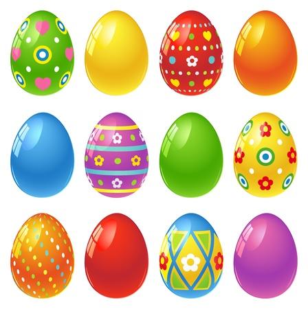 pascuas navide�as: Conjunto de coloridos huevos de Pascua Vectores