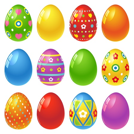flower clip art: Set of colourful Easter eggs