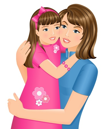 Happy daughter hugging her mother on Mother's Day. Isolated on white background.