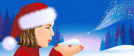 Santa girl on Christmas background