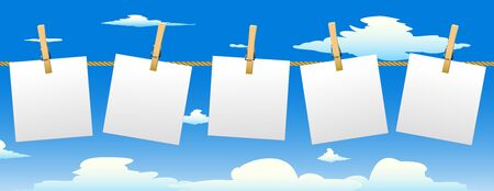 clench: Banner with five paper notes hanging on rope.Vector illustration. Illustration
