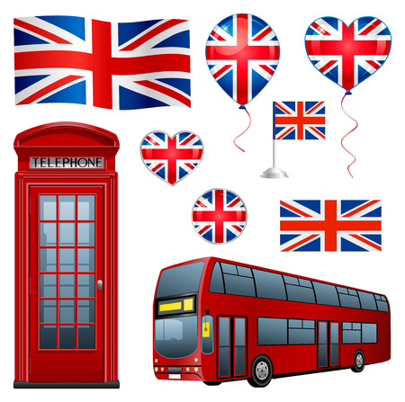 United Kingdom set: flags, icons, telephone, bus and balloons. Vector