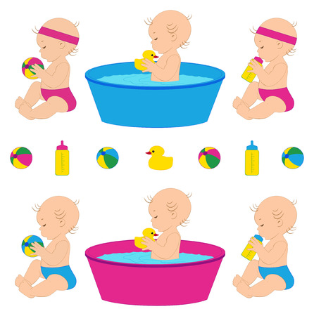 little girl bath: Vector illustration of cute babies with different toys.