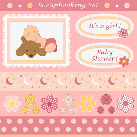 shape cub: Digital scrapbooking set for baby girl. Design elements for your layouts or scrapbooking projects. Vector illustration.