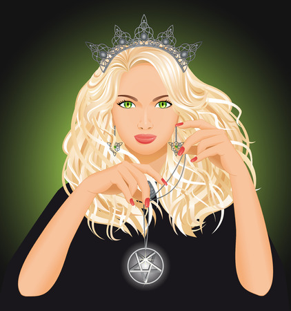 Background with beautiful witch who holds pentagram in hand. Fantasy and Halloween concept. Illustration