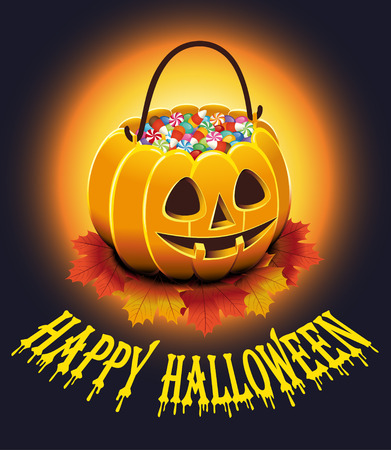 Halloween Poster with autumn leaves and pumpkin with candies. Vector illustration.