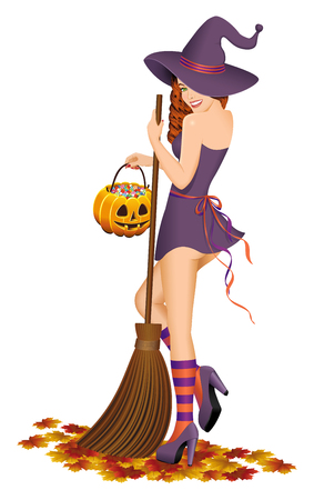 goodies: Beautiful witch with a broom. Halloween concept. Isolated on white background.Vector illustration.