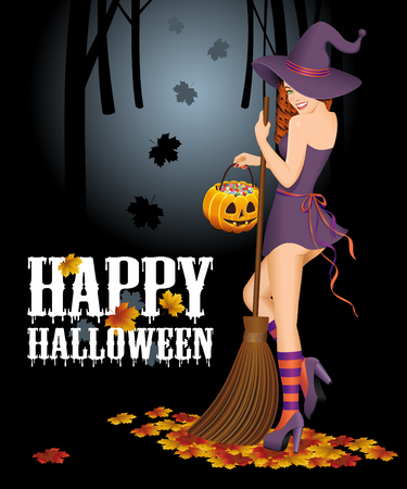 goodies: Halloween background with witch. Vector illustration.