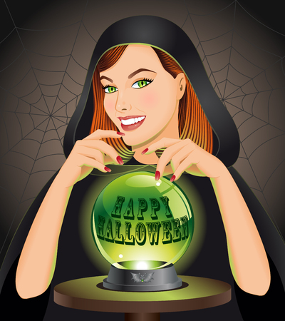 Halloween background with witch. Vector illustration.