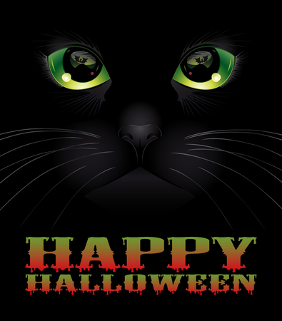 Happy Halloween background with black cat. Halloween concept. Vector illustration. Illustration