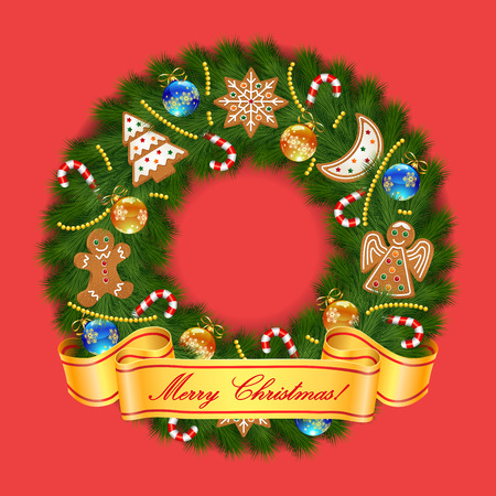 Christmas greeting card and background with Christmas wreath with Christmas gingerbread cookies and Merry Christmas lettering. Vector illustration.