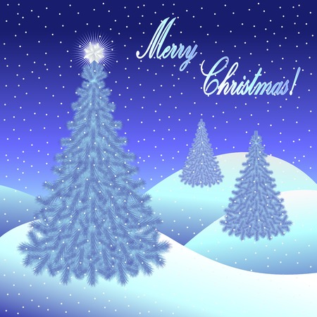 Christmas greeting card and background with Christmas tree and Merry Christmas lettering. Vector illustration. Illustration