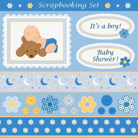 baby sleep: Scrapbooking set for baby boy. Design elements for your layouts or scrapbooking projects. Vector illustration.