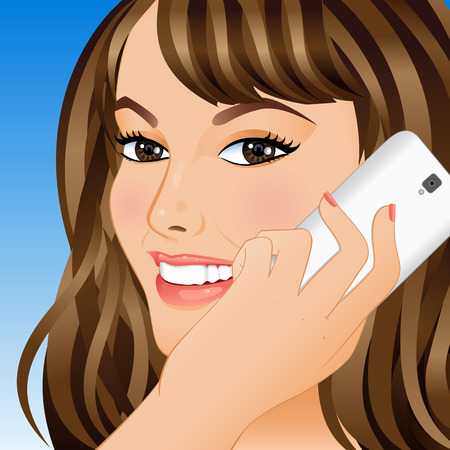 Portrait of a smiling young woman talking on a mobile phone. Vector illustration. Illustration