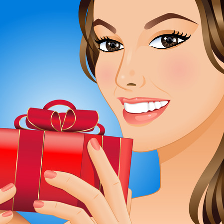 Portrait a smiling woman with gift box in her hands. Vector illustration. Illustration