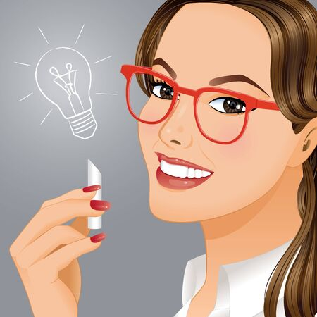New idea. Portrait of young woman who understood how to solve difficult problem. Illustration