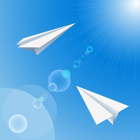Background with paper origami planes flying in the sky