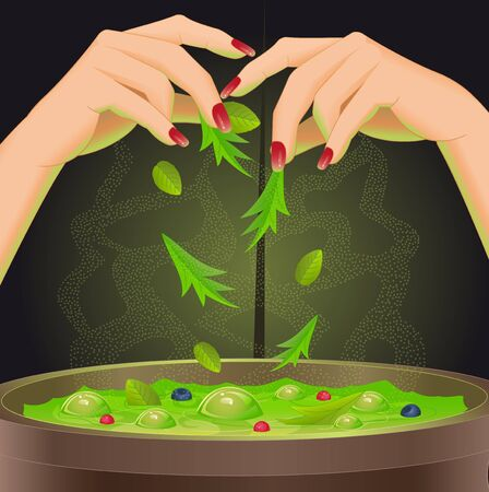 Halloween background with magic potion in cauldron. Vector illustration.