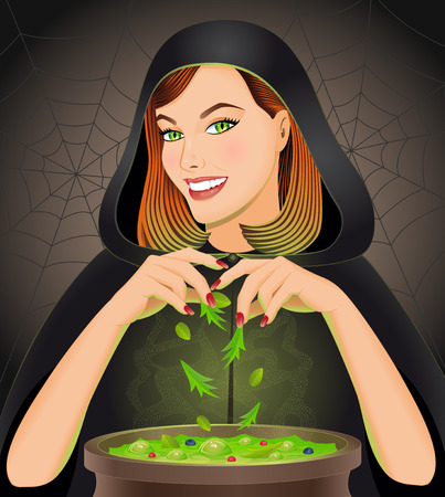 antichrist: Halloween background with witch brewing magic potion in cauldron. Halloween concept. Vector illustration.