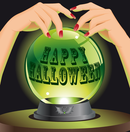 Happy Halloween background with magic sphere. Vector illustration.