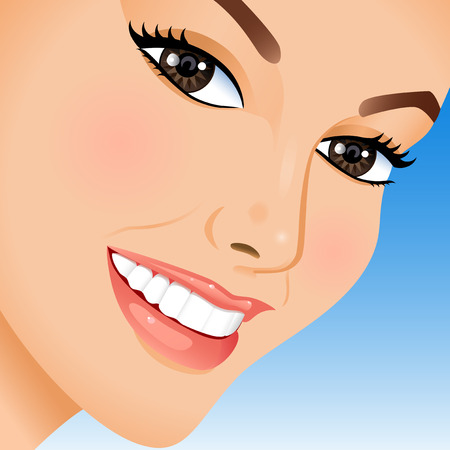 Portrait of beautiful woman on blue background. Vector illustration. Illustration