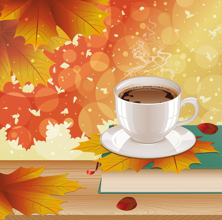 Background with hot steaming cup of coffee, book and autumn leaves on wooden table. Seasonal, still life and morning coffee concept. Vector illustration.