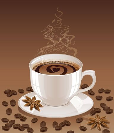 Brown background with hot steaming cup of coffee, coffee beans and stars anise. Still life and morning coffee concept. Vector illustration.