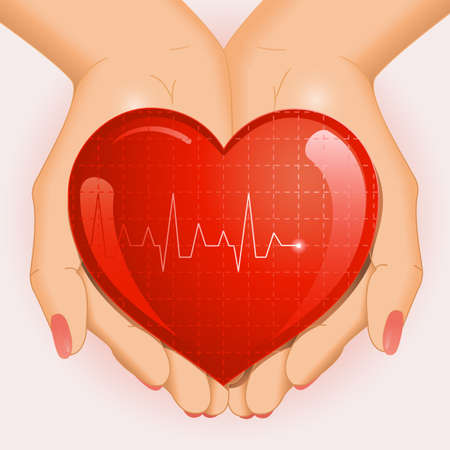 Medical background with open hands holding red heart. Vector illustration. Illustration