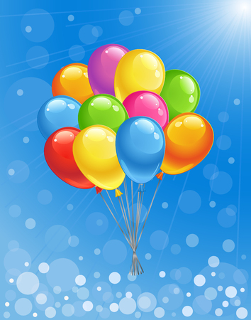 Blue sunny background with glossy colored balloons. Vector illustration.