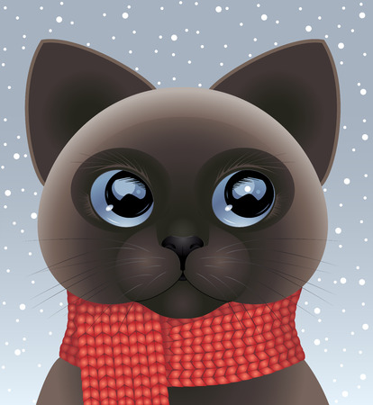 Snowy background with little cat wearing red scarf. Vector illustration.