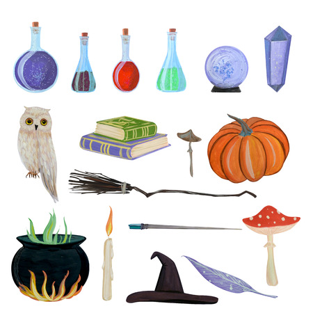 I drew this magic set with gouache this is an obligatory witch set. There is a broom, an owl, toadstools, flasks Stock fotó