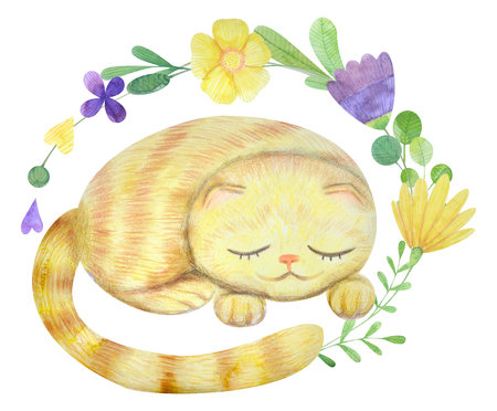 hand-drawn watercolor flower arrangement with a girl and a cat. Suitable for logo, poster, postcard