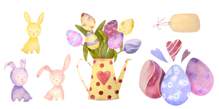 Watercolor drawn set with elements of happy easter. Rabbit, eggs, flowers - all isolated on a white background. To create your unique design. Ideal for invitation, greeting cards