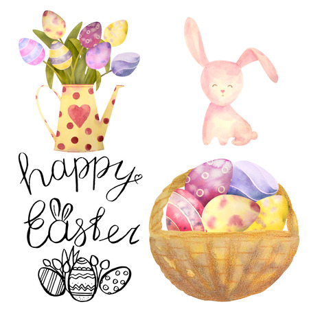 Watercolor drawn set with elements of happy easter. Hand drawn lettering, rabbit, eggs, flowers - all isolated on a white background. To create your design. Stock Photo