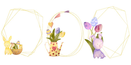 Watercolor drawn set with elements of happy easter. Frame, rabbit, eggs, flowers - all isolated on a white background. To create your unique design. Ideal for invitation, greeting card or logo