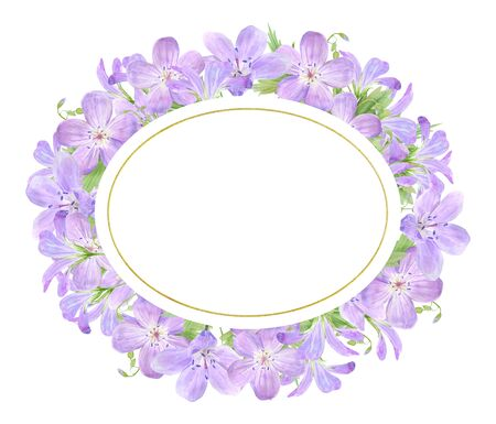 Oval frame of lilac watercolor geranium flowers isolated on white background. Perfect  design, cosmetics design, package, textile. Geranium sylvaticum L Stock Photo