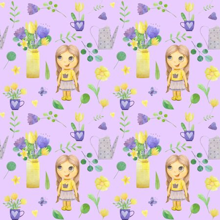 seamless pattern with cute watercolor illustration of girl and stylized flowers. Ideal for printing on fabric and wallpaper