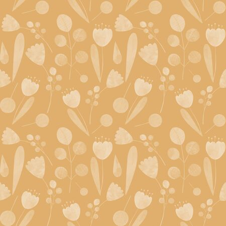 seamless pattern with cute watercolor illustration of stylized flowers. Ideal for printing on fabric and wallpaper