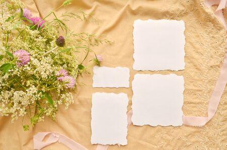 Wedding invite cards set. Seashells and ribbon mockup template background collage Stock Photo