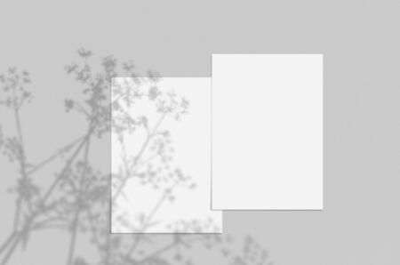Blank white vertical paper sheet 5x7 inches on light gray background with shadow overlay. Modern and stylish greeting card or wedding invitation mock up