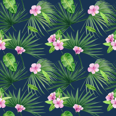 Watercolor illustration seamless pattern of tropical leaves and flower hibiscus. Perfect as background texture, wrapping paper, textile or wallpaper design. Hand drawn Banque d'images