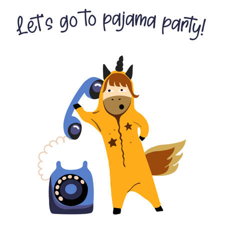 Unicorn with a phone, inviting friends to a pajama party, unicorn in pajamas; plans for the evening, nightly fun