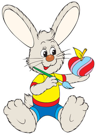 Bunny painting apple like Easter egg Vector