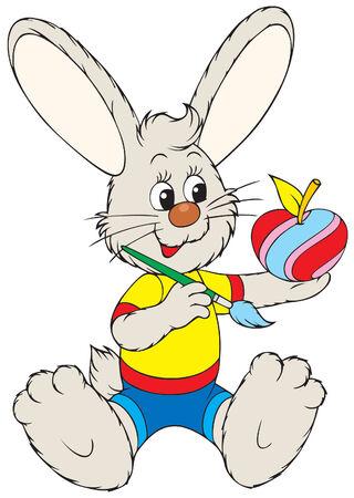 paskha: Bunny painting apple like Easter egg