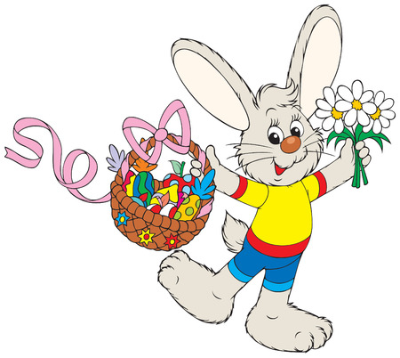 cartoon hare: Easter Bunny with the fruits basket and flowers Illustration