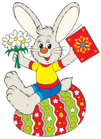 paskha: Bunny sits on the Easter egg Illustration