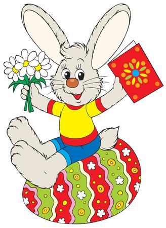 eastertide: Bunny sits on the Easter egg Illustration