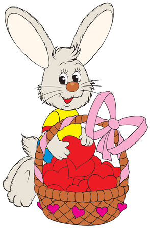 Easter Bunny with a basket Stock Vector - 4045873