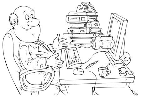 jobsite: office worker receiving the documentation via Internet service Stock Photo
